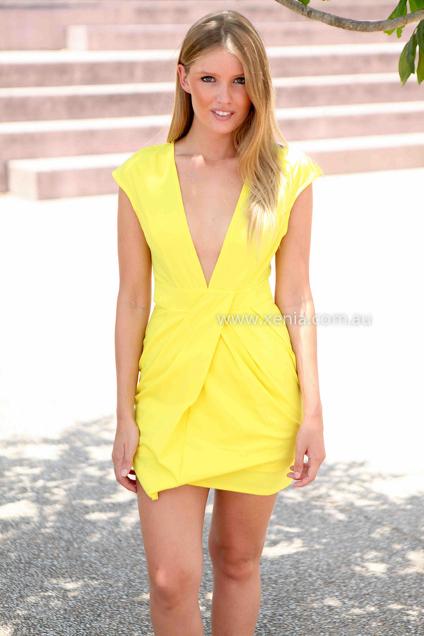 dress xeniaboutique ootd ootn bodycon dress yellow dress party dress women's clothing sexy party dresses