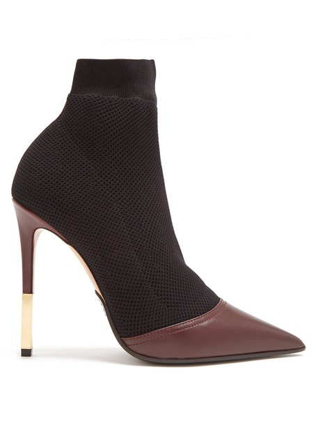 Balmain ankle boots knit burgundy shoes