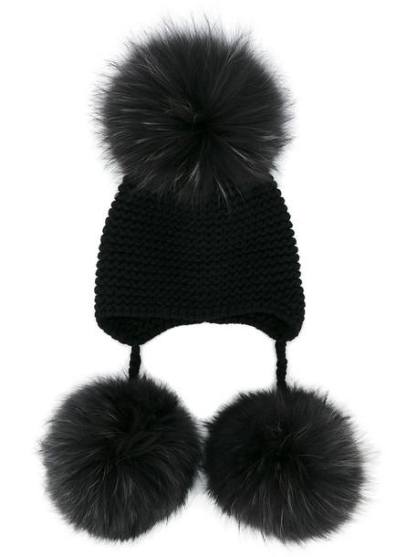 fur beanie pom pom beanie black hat