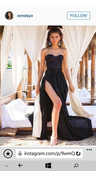 dress statement earrings fashion classy black dress bustier dress