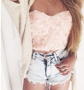 top,bustier,style,strapless,roses,crop,crop tops,shorts,embellished top,jacket,pink dress,fashion,floral tank top