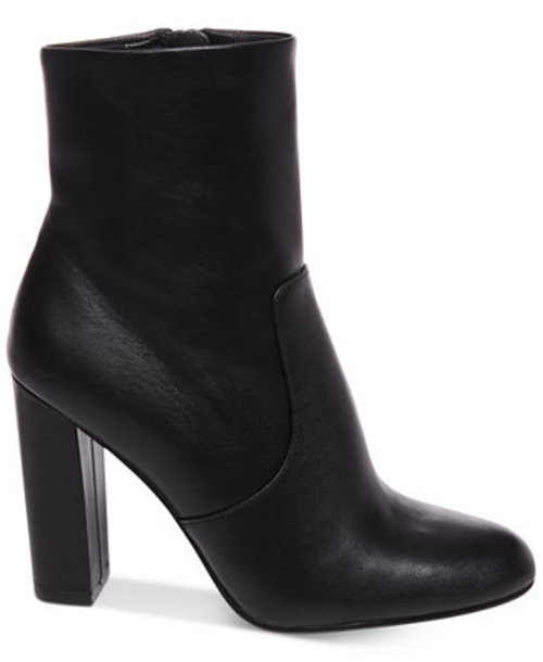 shoes black leather heels booties boots