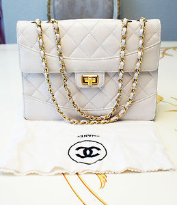 Authentic Vintage Chanel White Lambskin Classic Chain Shoulder Bag RARE | eBay