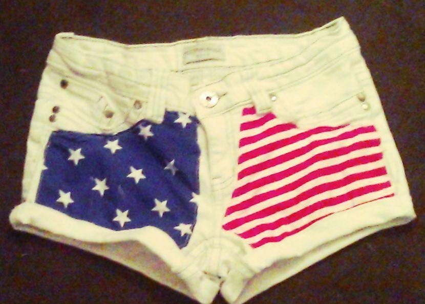 Womens American Flag White Denim Shorts Size 10 | eBay