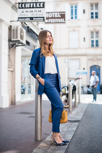 jacket tumblr blazer blue blazer top white top pants blue pants slingbacks mid heel sandals bag yellow yellow bag