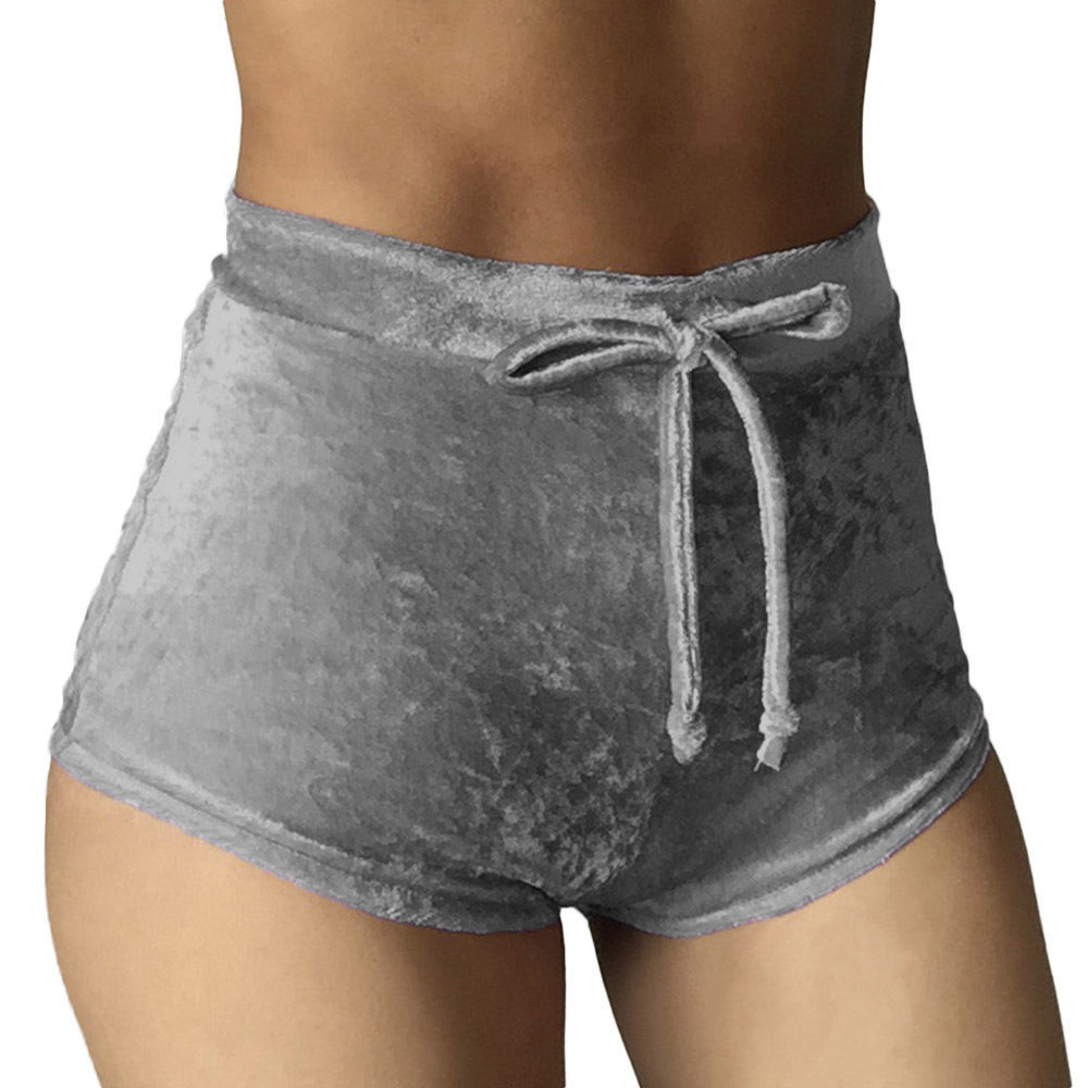 Hot Sexy Women High waist Velvet Velour Elastic Shorts Hotpants Solid Color S-XL