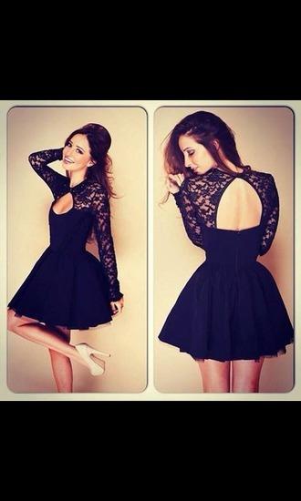 dress black dress long sleves lace dress