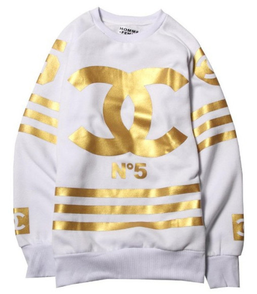 chanel white gold sweater inspired n5