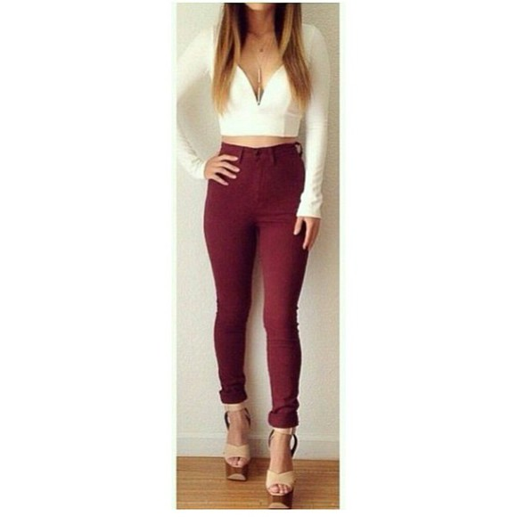 skinny jeans burgundy comfy tight style swag blogger heart alternativ famous blouse