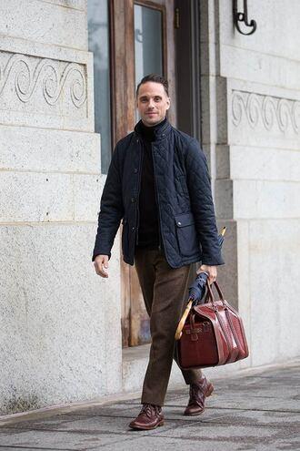 he spoke style blogger jacket bag pants shoes