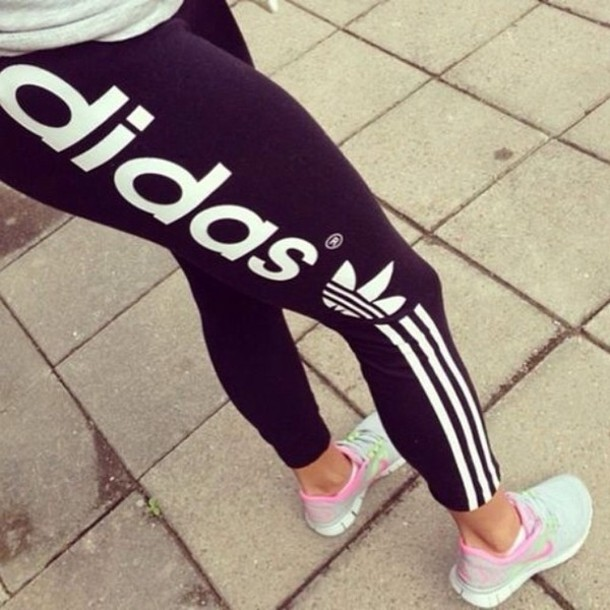 Pants leggings black white black and white running tights adidas athletic jeans ...