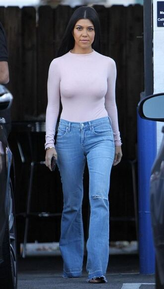 jeans kourtney kardashian flare jeans fall outfits top bodysuit