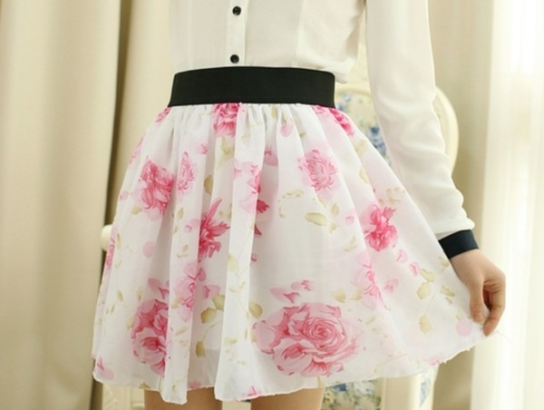 skirt white pink floral flowy flowers cute shirt blouse