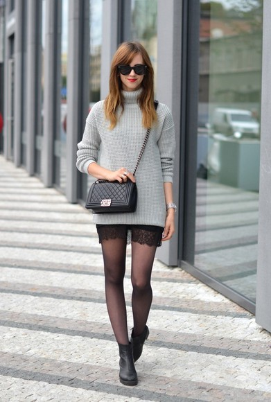 tights vogue haus blogger bag sunglasses jewels turtleneck clutch