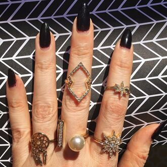 jewels jewel cult knuckle ring ring gold gold ring bling stars starburst crystal dreamcatcher dreamcatcher ring pearl stacking rings