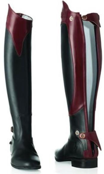burgundy horse long riding boots
