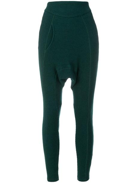 Paco Rabanne leggings women spandex wool green pants