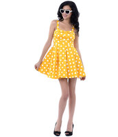 50s style,cute dress,yellow dress,fashion dress,womens fashion,Pin up,polka dots,polka dots dress,halter dress,rockabilly dress,streetwear,streetstyle,dress