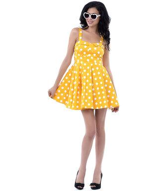 50s style cute dress yellow dress fashion dress womens fashion pin up polka dots polka dots dress halter dress rockabilly dress streetwear streetstyle dress