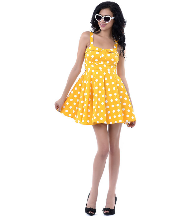 50s style cute dress yellow dress fashion dress womens fashion Pin up polka dots polka dots dress halter dress rockabilly dress 50s style streetwear streetstyle dress