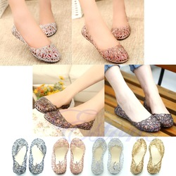 Online shop fashion style ventilate crystal jelly hollow out birds nest flat sandal 4 colors