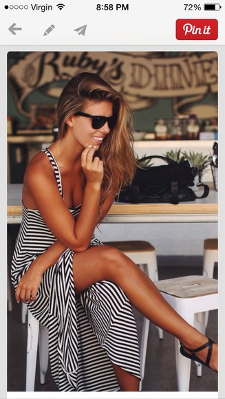 dress striped dress long dress summer