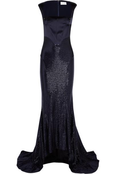 Esteban Cortazar gown navy satin dress