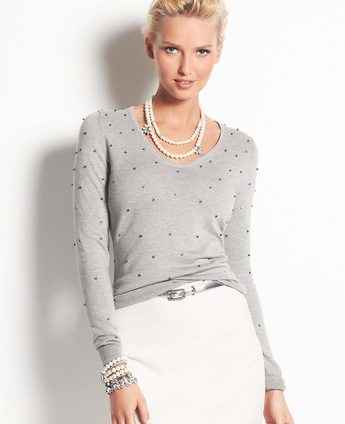 Bejeweled V-Neck Sweater | Ann Taylor