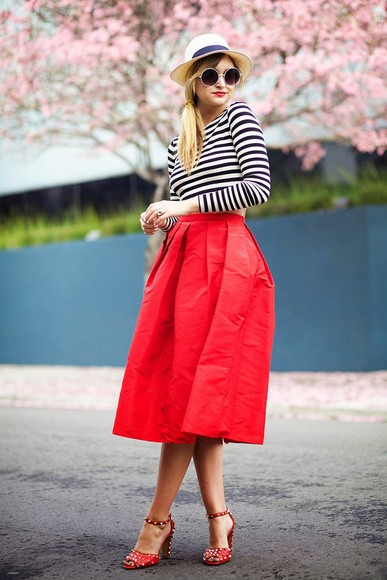 late afternoon sunglasses shoes skirt hat t-shirt