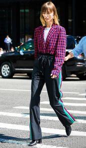 pants,oants,wide-leg pants,top,shoes,black shoes,chekered