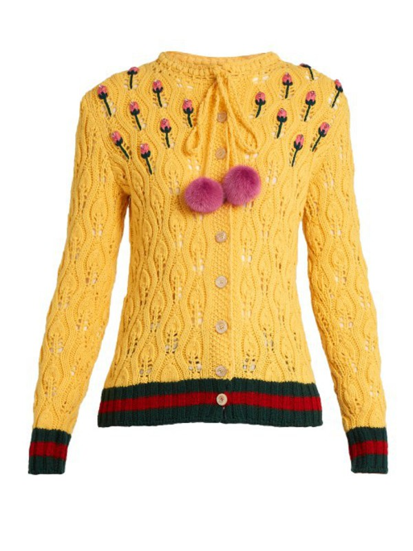 976428cc570 GUCCI Intarsia Gg Logo Wool Sweater in green   pink - Wheretoget
