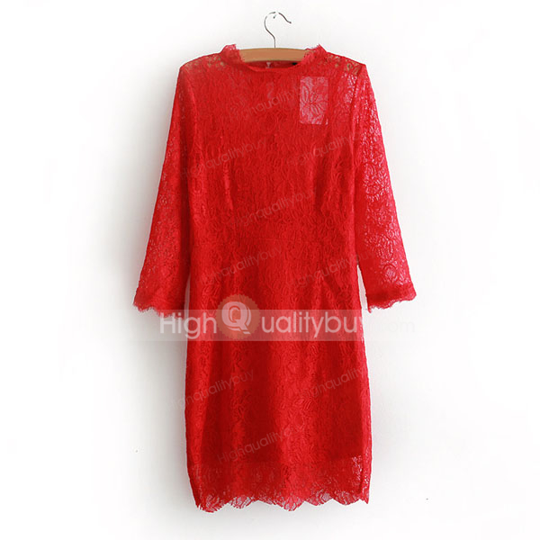 Fashion Long Sleeve Solid Color Sexy Lace Party Dress For Women_22.46