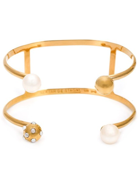 NEKTAR DE STAGNI cuff pearl yellow orange jewels