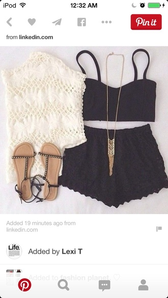 jewels necklace long necklace black black shorts high waisted shorts black top bralette baggy shirt sandals summer cali white top shorts dress hair accessory