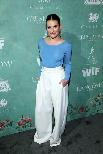 pants wide-leg pants white white pants lea michele top spring outfits