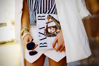 jacket black and white envelope skirt aviator sunglasses bazar blazer lines watch gold sunglasses skirt