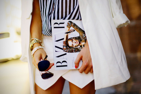 jacket blazer skirt black and white envelope skirt aviator sunglasses bazar lines watch gold sunglasses