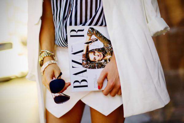 jacket black and white envelope skirt aviator sunglasses bazar blazer lines watch gold sunglasses skirt