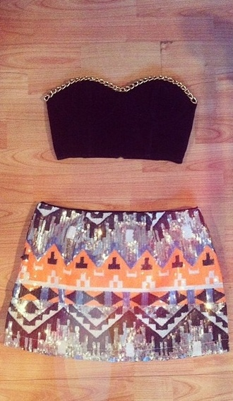 tank top chain gold aztec sequins geometric pattern coloured corset mini mini skirt skirt black fashion swag sexy orange silver