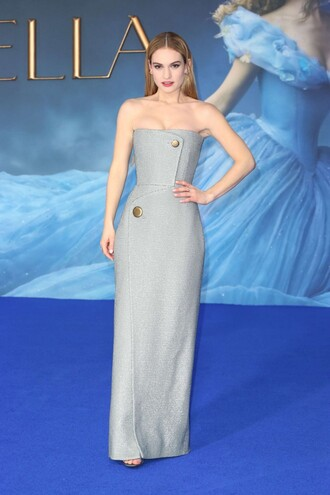 dress gown strapless bustier dress lily james