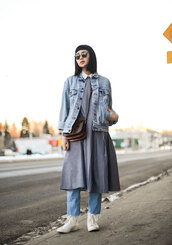 ordinary people,blogger,dress,sunglasses,oversized jacket,denim jacket,cropped jeans,white sneakers,high top sneakers,spring outfits,collared dress,grey dress,frayed denim,frayed jeans