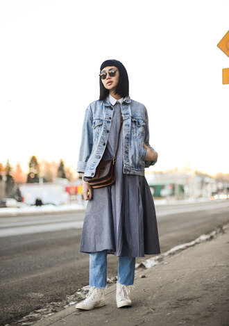 ordinary people blogger dress sunglasses oversized jacket denim jacket cropped jeans white sneakers high top sneakers spring outfits collared dress grey dress frayed denim frayed jeans