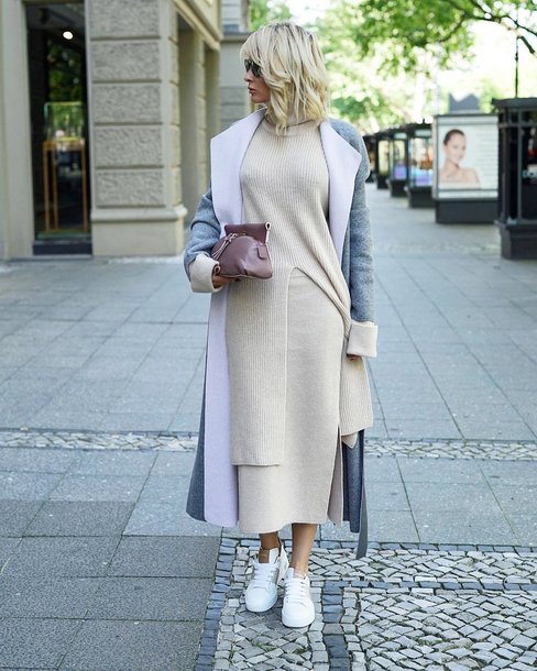 sweater knit knitwear knitted sweater white sweater white skirt skirt midi skirt knitted skirt matching set sneakers white sneakers coat grey coat