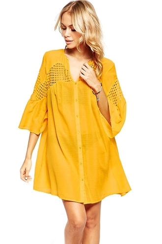 dress smock summer v neck buttons sexy chic wots-hot-right-now see through hollow dress hollow out dresses yellow black dress smock dress date night dress crochet celebrity style sexy party dresses casual beach dress yellow summer dress