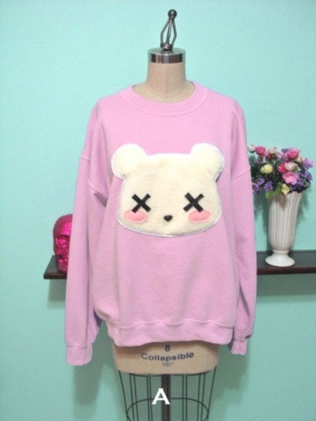 sweater pink teddy bear pastel goth pink sweater polar bear purple sweater cute sweater light purple purple kawaii bear cute clothes pastel dead goth emo scene lavender cozy comfy grunge sweet blush