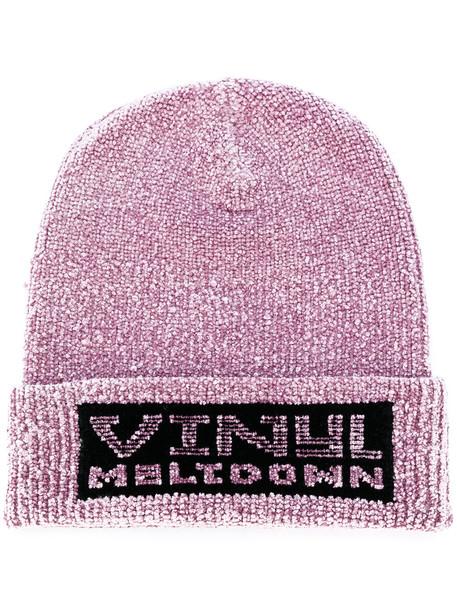 vinyl beanie purple pink hat