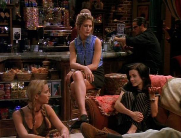 skirt friends TV show rachel green jennifer aniston jacket sleeveless denim