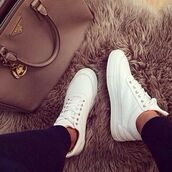 shoes,white,sneakers,basket,bag,summer shoes,fur,nude,luxury,white sneakers,high top sneakers,high tops,leather,prada,platform shoes,platform sneakers,white shoes,blanc,lacets blanc,basckets,tennis,trendy,prada bag,prada handbags,chanel boots,givenchy bag,handbag,tan bag,white sneakers for woman,celine paris shirt,celine bag