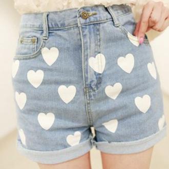 shorts denim it girl shop hipster heart high waisted basic