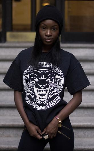 shirt black tiger face beanie